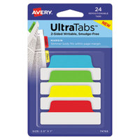 Avery 74768 Ultra Tabs 2 1/2 inch x 1 inch Assorted Primary Color Repositionable Tab - 24/Pack