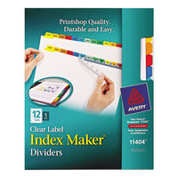 Avery 11404 Index Maker 12-Tab Multi-Color Divider Set with Clear Label Strip