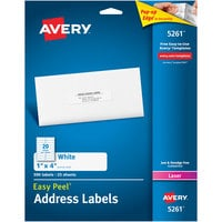 Avery 5261 Easy Peel 1 inch x 4 inch Printable Mailing Address Labels - 500/Pack