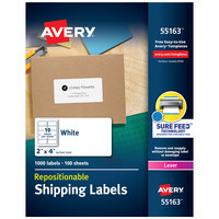 Avery 55163 2 inch x 4 inch White Repositionable Shipping Labels - 1000/Box