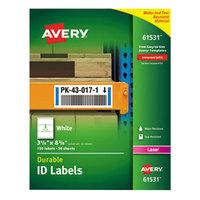 Avery 61531 TrueBlock 3 1/4 inch x 8 3/8 inch White ID Labels - 150/Pack