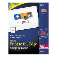 Avery 6876 4 3/4 inch x 7 3/4 inch White Print-to-the-Edge Shipping Labels - 50/Pack