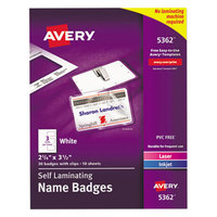 Avery 5362 2 1/4 inch x 3 1/2 inch White Self-Laminating Laser / Inkjet Printer Badge - 30/Pack