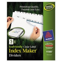 Avery 11580 EcoFriendly Index Maker 5-Tab White Divider Set with Clear Label Strips - 5/Pack