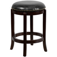 Flash Furniture TA-68924-CA-CTR-GG Cappuccino Wood Counter Height Stool with Black Leather Swivel Seat
