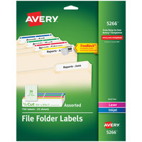 Avery 5266 TrueBlock 2/3 inch x 3 7/16 inch Assorted Color File Folder Labels - 750/Pack