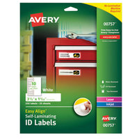 Avery 757 Easy Align 1 1/32 inch x 3 1/2 inch White Rectangular Printable Self-Laminating ID Labels - 250/Pack