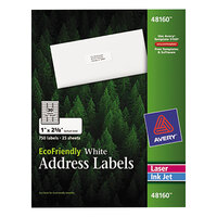 Avery 48160 EcoFriendly 1 inch x 2 5/8 inch White Easy Peel Mailing Labels - 750/Box