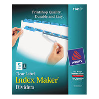 Avery 11410 Index Maker 5-Tab Blue Divider Set with Clear Label Strips - 5/Pack