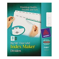 Avery 11491 Big Tab Index Maker 8-Tab Divider Set with Clear Label Strip