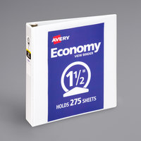 Avery 5726 White Economy View Binder with 1 1/2 inch Round Rings