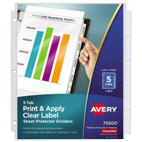 Avery 75500 Index Maker 8 1/2 inch x 11 inch 5-Tab Clear Pocket Label Dividers