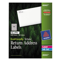 Avery 48467 EcoFriendly 1/2 inch X 1 3/4 inch White Easy Peel Return Address Labels - 8000/Box