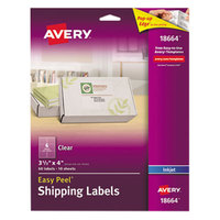 Avery 18664 Easy Peel 3 1/3 inch x 4 inch Clear Inkjet Printer Shipping Labels - 60/Pack