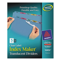 Avery 12452 Index Maker 5-Tab Multicolor Plastic Clear Label Dividers - 5/Pack