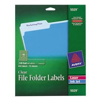 Avery 5029 2/3 inch x 3 7/16 inch Clear Top Tab 1/3 Cut File Folder Labels - 450/Pack