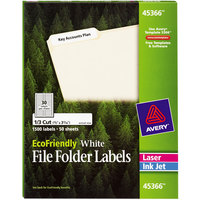 Avery 45366 EcoFriendly 2/3 inch x 3 7/16 inch White 1/3 Cut Top Tab File Folder Labels - 1500/Box