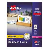 Avery 5870 2 inch x 3 1/2 inch Uncoated White Clean Edge Business Cards - 2000/Pack