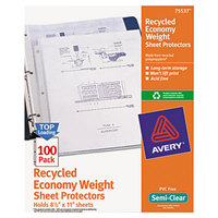 Avery 75537 8 1/2 inch x 11 inch Semi-Clear Economy Weight Recycled Polypropylene Top-Load Sheet Protector, Letter - 100/Pack