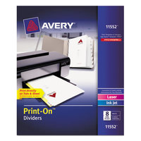 Avery 11552 Print-On 8-Tab White Divider Set - 5/Pack