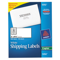 Avery 5352 2 inch x 4 1/4 inch White Copier Shipping Labels - 1000/Box