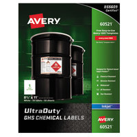 Avery 60521 UltraDuty 8 1/2 inch x 11 inch GHS Chemical Labels for Pigment-Based Inkjet Printers - 50/Pack