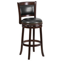 Flash Furniture TA-61029-CA-GG Cappuccino Wood Bar Height Panel Back Stool with Black Leather Seat