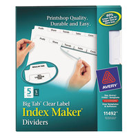 Avery 11492 Big Tab Index Maker 5-Tab Divider Set with Clear Label Strip - 5/Pack