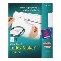 Avery 11435 Index Maker 3-Tab White Divider Set with Clear Label Strip - 5/Pack