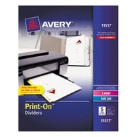 Avery 11517 Print-On 5-Tab White Divider Set - 25/Pack