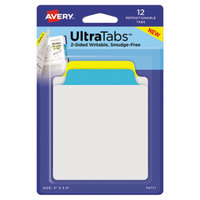 Avery 74771 Ultra Tabs 3 inch x 3 1/2 inch Assorted Primary Color Repositionable Tab - 12/Pack