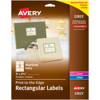 Avery 22823 3 inch x 3 3/4 inch Pearlized Ivory Rectangular Print-to-the-Edge Labels - 48/Pack