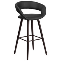 Flash Furniture CH-152560-BK-VY-GG Brynn Series Cappuccino Wood Bar Height Stool with Black Vinyl Seat