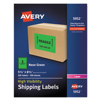 Avery 5952 5 1/2 inch x 8 1/2 inch Neon Green Shipping Labels - 200/Box
