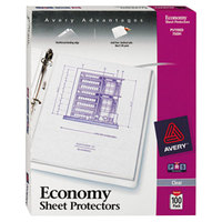 Avery 75091 8 1/2 inch x 11 inch Clear Economy Weight Top-Load Sheet Protector, Letter - 100/Box