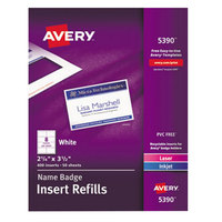 Avery 5390 2 1/4 inch x 3 1/2 inch White Badge Holder Laser / Inkjet Insert Refills - 400/Box
