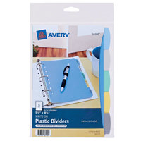 Avery 16180 5 1/2 inch x 8 1/2 inch 5-Tab Multi-Color Write-On Plastic Dividers