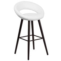 Flash Furniture CH-152550-WH-VY-GG Kelsey Series Cappuccino Wood Bar Height Stool with White Vinyl Seat