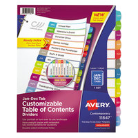 Avery 11847 12-Tab Jan.-Dec. Multi-Color Customizable Table of Contents Dividers