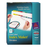 Avery 11424 Index Maker 8-Tab Multi-Color Divider Set with Clear Label Strip - 25/Pack