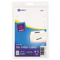 Avery 5230 2/3 inch x 3 7/16 inch Removable White File Folder Labels - 252/Pack