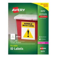 Avery 6575 8 1/2 inch x 11 inch White Permanent ID Labels - 50/Pack