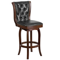 Flash Furniture TA-240130-CA-GG Cappuccino Wood Bar Height Button Tufted Back Stool with Black Leather Swivel Seat