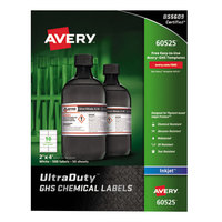 Avery 60525 UltraDuty 2 inch x 4 inch GHS Chemical Labels for Pigment-Based Inkjet Printers - 500/Pack