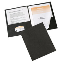 Avery 47978 Letter Size 2-Pocket Paper Folder with Prong Fasteners, Black - 25/Box