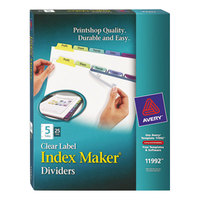 Avery 11992 Index Maker 5-Tab Multi-Color Divider Set with Clear Label Strip - 25/Box