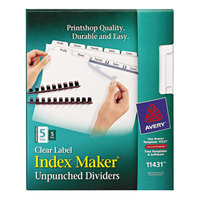 Avery 11431 Index Maker 5-Tab Unpunched Divider Set with Clear Label Strips - 5/Pack