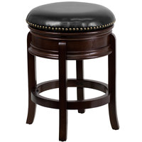 Flash Furniture TA-68824-CA-CTR-GG Cappuccino Wood Counter Height Stool with Black Leather Swivel Seat