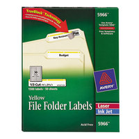 Avery 5966 TrueBlock 2/3 inch x 3 7/16 inch Yellow File Folder Labels - 1500/Box