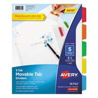 Avery 16750 5-Tab Movable Tab Dividers